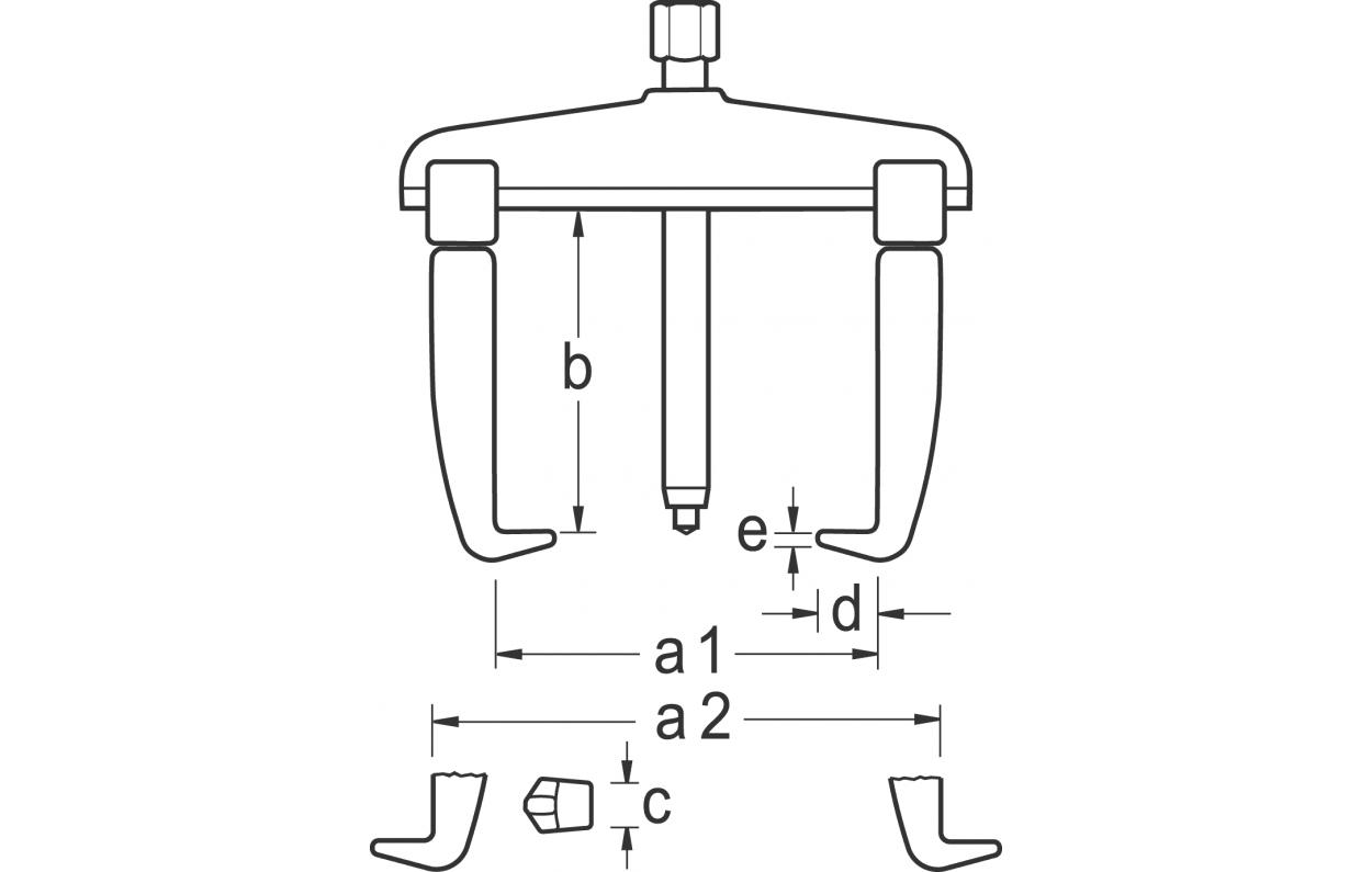 GEDORE 1.07//K Abzieher-Set mit 9 Haken 130x100//200//250 mm