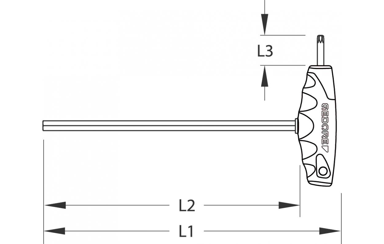 Gedore 2647311 Hexagon Allen key with 2C-T-handle 6 mm