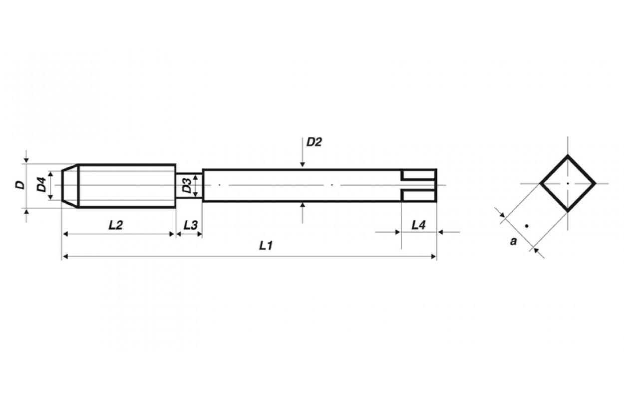 Mittelschneider M 10 1,5 mm DIN 352 HSS Völkel Handgewindebohrer